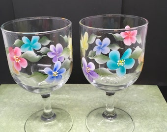 Wine Glasses Hand Painted Floral Clear Glass Pink Blue Yellow Purple Aqua Orange Barware Bar Decor Drinkware Cottage Chic One of a Kind Gift