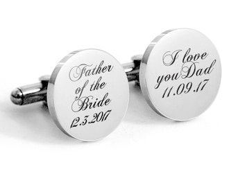 Father of the Bride Cufflinks, Stainless Steel Gifts for Dad, Wedding Cufflinks GIft