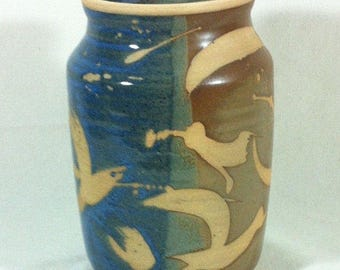 Contemporary Art Pottery Vase Handmade Brown Blue Green Turning Point Pottery Virginia