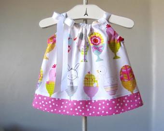 Baby Girls Pillowcase Dress - Dress and Bloomers - Chicks, Bunnies, Lambs & Polka Dots - Infant Sun Dress - Size Nb, 3m, 6m, 9m, 12m or 18m