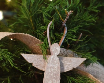 Wooden Angel Ornament - angel made from reclaimed wood