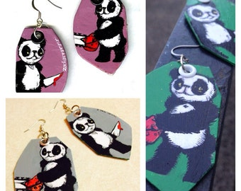 Psycho Panda - hand-painted earrings with panda bears wielding knife and chainsaw