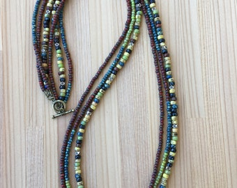 Long Beaded Necklace, Multi Strand, Boho, Seed Bead Necklace, Bohemian, Rustic, Gift for Her,