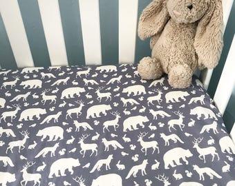 Woodland Crib Sheet, Wildlife, Bears, Deer, Fox, Rabbits, Toddler, Diaper, Bedding, Fitted Sheet, Gray