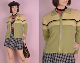 90s Striped Sweater Jacket/ Medium/ 1990s
