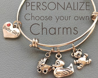 Baby Customize , Your Own Silver Bracelet, Charms, Personalized Gift, Shower, New Mom, Newborn, Babies, Girl and Boy