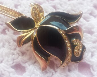 Vintage Black Rose Flower Gold tone Brooch Retro Jewelry