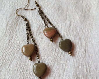 Natural Country Agate Heart Earrings