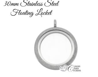 Silver Sparkle Floating Locket • Stainless Steel • Twist Top • Large 30 mm Round - SS105