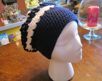Slouchy Hat / Blue & White