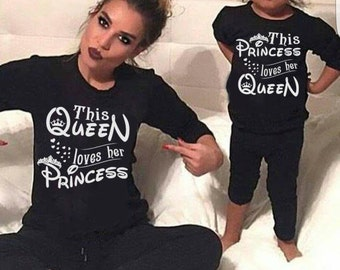 This PRINCESS loves her QUEEN sweater, Prince sweater, princess outfit, Disney top, matching outfits, matching tops, princess jumper