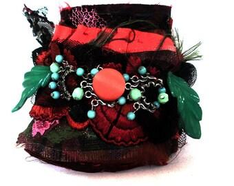 Wearable art, textile art, cuff, handmade cuff, wrist cuff, fabric cuff, textile cuff, cuff bracelet, french cuff, gothic cuff, antique lace