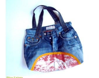 "Blue denim bag ""Toile de Jouy"" countryside scene appliqué and 2 straps"