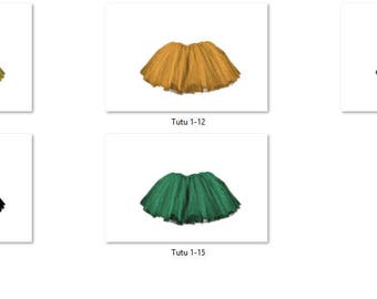 Tutu 1 Overlays Pack 3 Same Tutu 5 different colors Bold Bright Photoshop PNG Translucent Background