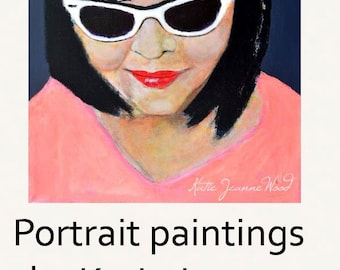 Acrylic Realism Woman & Sunglasses Portrait Painting. Home Wall Art Decor. Canvas Art Original. Apartment Wall Decor.