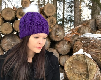 Purple With White Fur Pom Pom Crochet Cable Hat, Fits Teens to Women, purple hat, Fur Pom, Winter Beanie, Photo Prop, Toque,