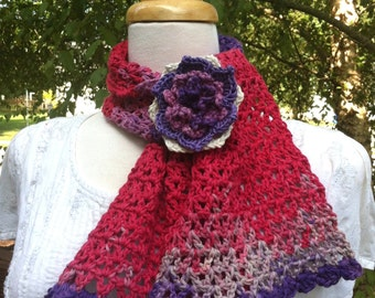 Simplicity Scarf (Crochet Pattern). Detailed instructions to crochet this simple scarf. Pattern for floral pin included. INSTANT DOWNLOAD