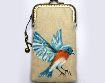 Bird Hand painted Vintage Iphone case Robin gadget case iPhone sleeve ( iPhone 6, iPhone 6 Plus, Samsung Galaxy S5 etc. )