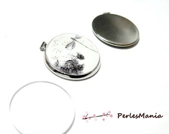 2 pieces: 1 round 25mm silver plate parallel tie and 1 cab pendant finding