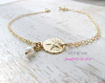 14k Gold Filled Sand dollar Bracelet Sand dollar jewelry Pearl Beach Bracelet Sea Charms Girls Bracelet Beach Wedding Beach Jewelry Summer