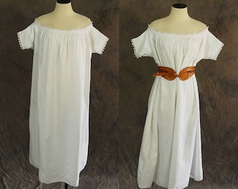 antique Victorian Nightgown - 1900s Cotton Tent Dress - Off Shoulder Dress Night Gown Sz S M