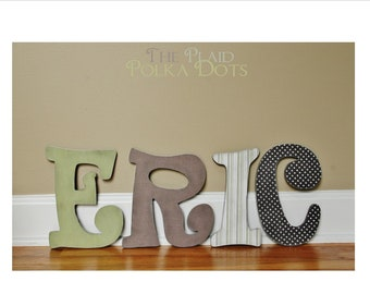 Custom Distressed Wooden Letters for girls or boys - Browns and Greens or Custom made to match your decor