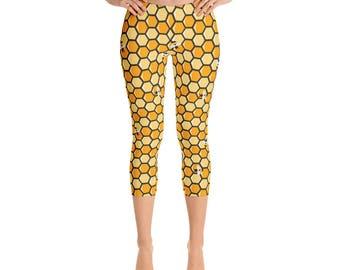 Honeycomb Capris - Honeycomb Leggings - Women's Capri Leggings - Capri Pants - Honeycomb Yoga Pants - Leggings - Honeycomb - Beehive Print