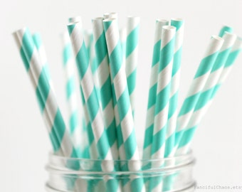 25 Turquoise Stripe Paper Straws - Garden Partys, Wedding, Birthday, Baby Shower, Celebrations