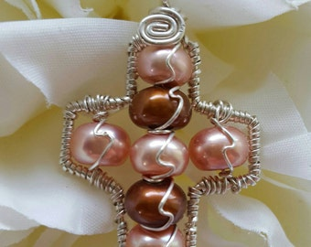 Wire wrapped Sterling silver one-of-a-kind Pink & Brown Pearl Cross Pendant