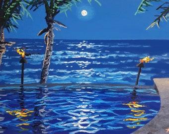 Textured wall art / large oil painting / seascape painting / beach decor / original artwork / moon art / tropical decor / canvas art