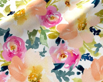Watercolor Floral Quilting Fabric by the Yard Floral Fabric Organic Cotton Knit Nursery Fabric Childrens Fabric Peach Navy Flowers 6085304