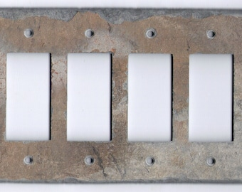 Decorative Slate Switch Plate 4 Quad Outlet GFI GFCI Rokcer Decora Light Switchplate Wall Plate Cover Stone Rustic QGFI