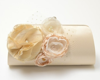 Shabby Chic Bridal Clutch Bridesmaid Clutch - Cream Champagne Clutch - Ivory Cream & Champagne Flower Blossoms - Medium Size Bouquet Clutch