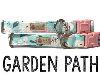 """Ice Frappe Light Pink Gray Girly Vintage Inspired Floral Flowers Dog Collar - Antique Metal Hardware - """"Garden Path"""""""