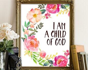 I am a child of God, Bible Print, Baptism Printable, Baptism Print, Baptism Printables, Baptism decor, Baptism gift, Bible verse wall art