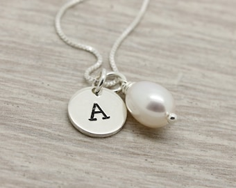 June birthday gift for her, June birthstone oval freshwater Pearl necklace, sterling silver, letter initial necklace, personalized necklace