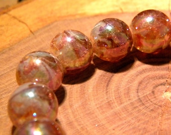 5 glass beads plated translucent AB - rainbow effect - 12 mm-bronze-PF139-3