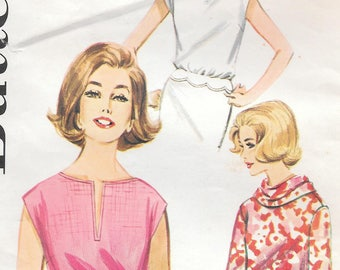 Bust 36 and Bust 40-1960's Misses' Hip Banded Blouse Butterick 2951 Size 16 and Size 20