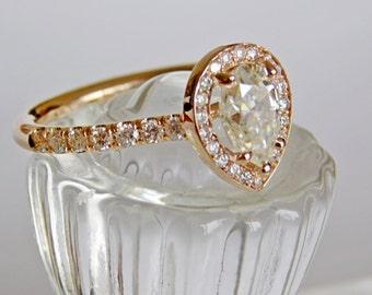 Engagement Ring - Rose Gold -  35 Round Brilliant Diamonds  1.33 Carat Pear shaped Forever Brilliant Moissanite LJ1500