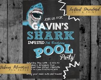 shark birthday invitation pool party invitation shark party