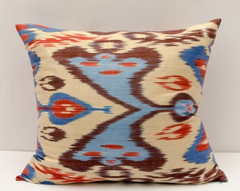 21x20 ikat pillow cover, cream red blue pillow cover cushion case