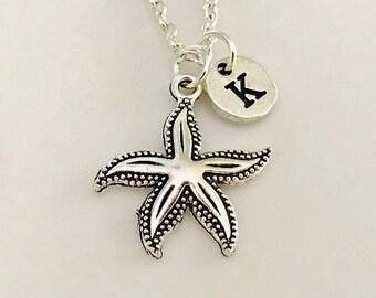 Starfish necklace, Starfish jewelry, Best Friend necklace, Starfish pendant, Silver Starfish, Initial silver, Hand stamped