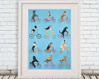 Dogs on bicycles,bicycle print,cycling dog, dog on bicycle, dog painting, bicycle painting, dog illustration, bicycle illustration, bike art