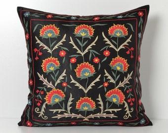 Embroidery pillow, pillow, embroidery, embroidery pillows, pillow case, embroidered pillow, floral pillow, black pillow, needlepoint pillow