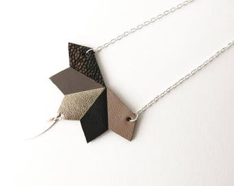 Long Necklace, Necklace, Geometric, Leather, Rhombuses, Black, Taupe, Gold
