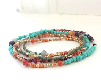 Southwest Beaded 5 Wrap Bracelet Turquoise, Garnet, Labradorite, Pumpkin Jade - Long Seed Bead Multi Strand Stretch Bracelet, Necklace