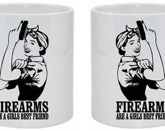 11oz Ceramic Mug Firearms are a girls best friend, coffee cup,