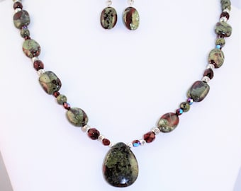 Dragon's blood Jasper necklace and earrings set