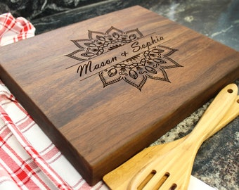 "15x12"" Personalized Chopping Block - Engraved Edge Grain, Custom Butcher Block, Housewarming, Wedding, Engagement, Hostess Gift (05)"