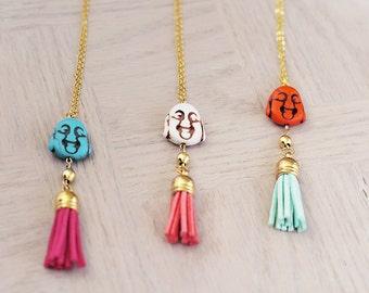Buddha Necklace - Bohemian Fringe Tassel - Long Gold Necklace